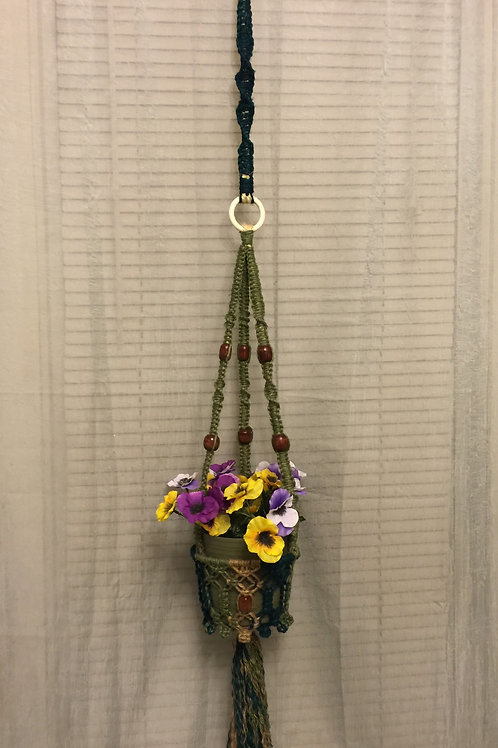 MACRAME PLANT HANGER 34 single, green jute, sisal