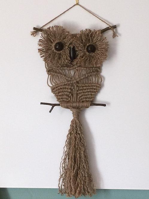 OWL #163 Macrame Wall Hanging, natural jute, macrame owl