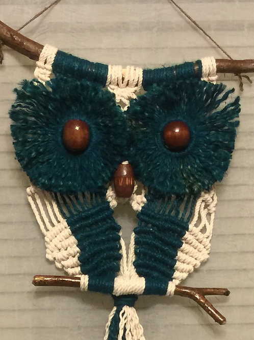 OWL #51 Macrame Wall Hanging, natural, colored jute, cotton
