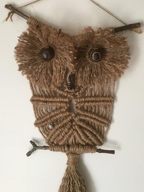 OWL #170 Macrame Wall Hanging, natural jute, macrame owl
