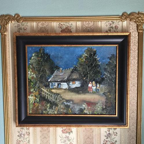 "AT NIGHT original oil painting 11""x14"" framed"