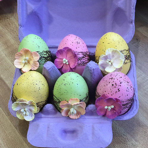 EASTER EGGS (#33) ribbon with flowers, set of 6