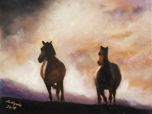 "GALLOPING HORSES (75) original oil painting 11""x 14"""