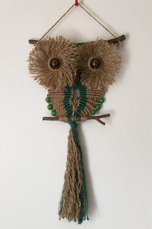 OWL #136 Macrame Wall Hanging, natural, colored jute, macrame owl