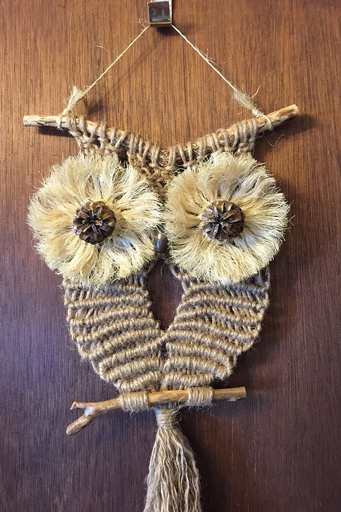 OWL #18 Macrame Wall Hanging natural, jute, sisal