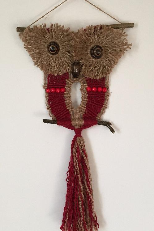 OWL #110 Macrame Wall Hanging, natural jute, acrylic, macrame owl