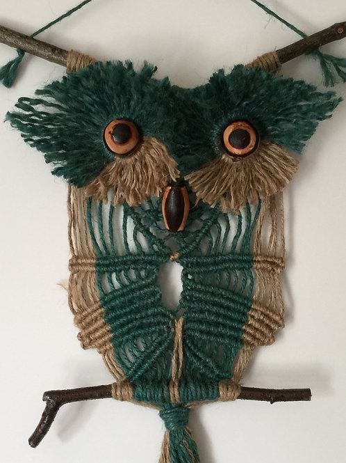 OWL #135 Macrame Wall Hanging, natural, colored jute, macrame owl