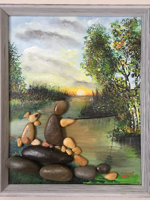 FISHING Pebble Art (17) collage, 3D picture,