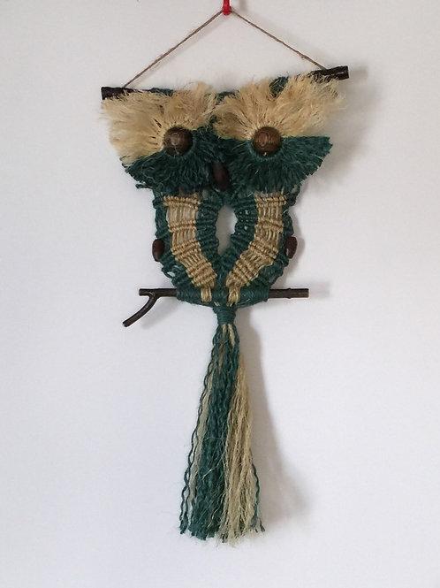 OWL #103 Macrame Wall Hanging, natural jute, sisal