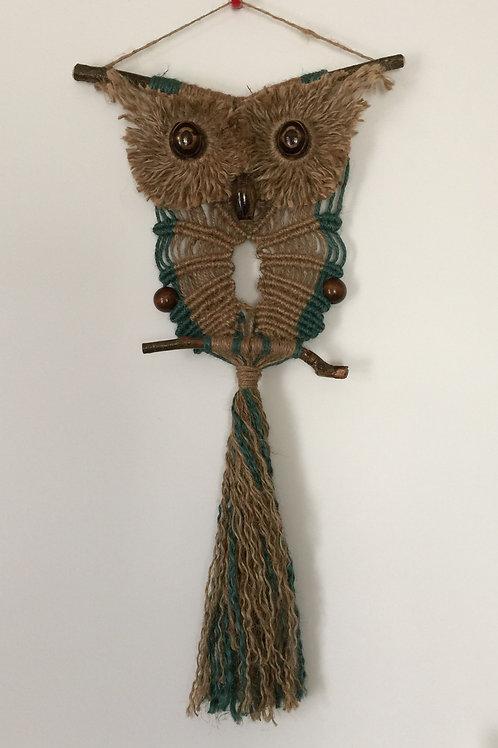 OWL #115 Macrame Wall Hanging, natural jute, macrame owl