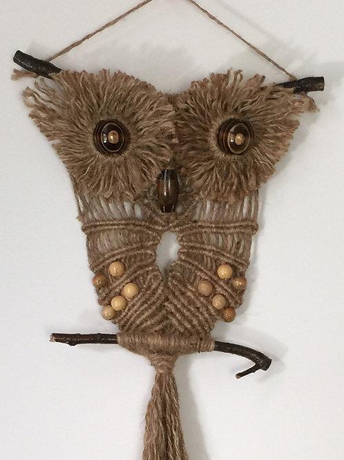 OWL #138 Macrame Wall Hanging, natural jute, macrame owl