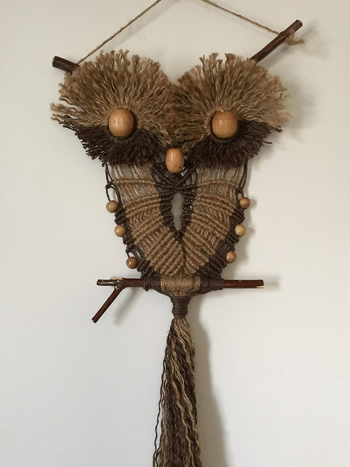 OWL #102 Macrame Wall Hanging, natural and colored jute