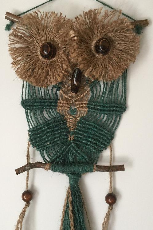 OWL #166 Macrame Wall Hanging, natural, colored jute, macrame owl