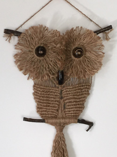 OWL #139 Macrame Wall Hanging, natural jute, macrame owl