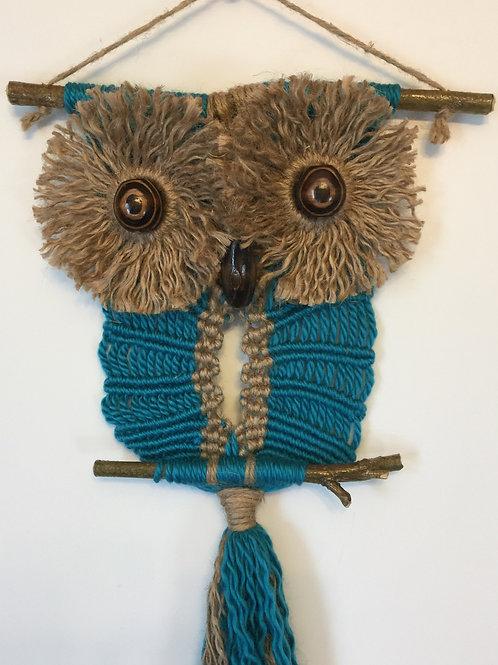 OWL #109 Macrame Wall Hanging, natural jute, acrylic, macrame owl