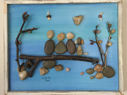 FAMILY Pebble Art (7) collage, 3D picture,