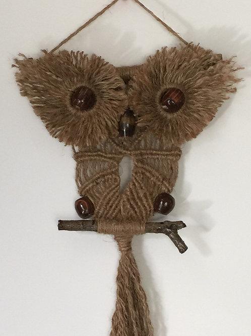 OWL #140 Macrame Wall Hanging, natural jute, macrame owl