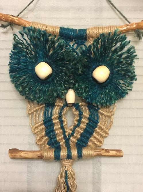 OWL #49 Macrame Wall Hanging, natural, colored jute