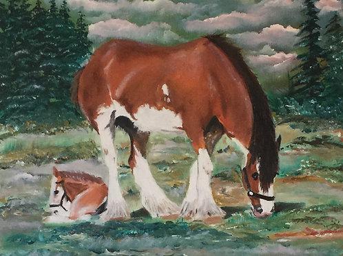 """GRAZING HORSES (71) original oil painting 16""""x 20"""""""