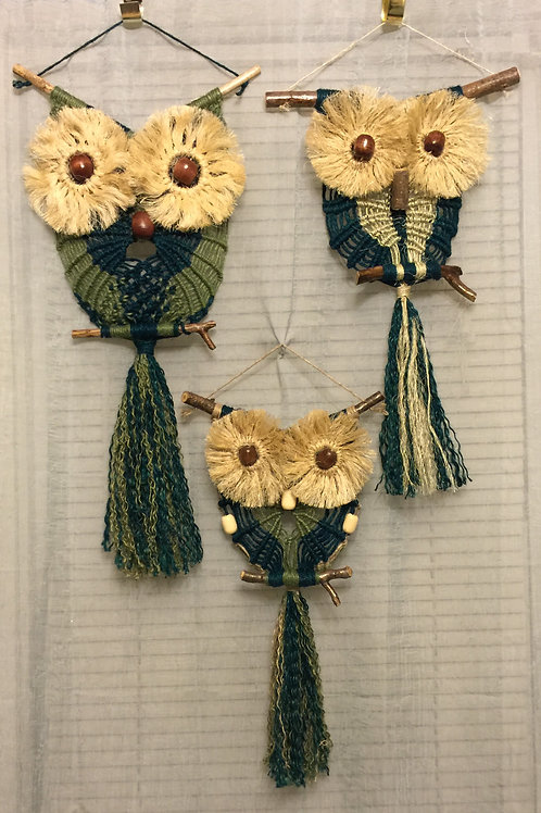 OWL FAMILY Macrame Wall Hangings, jute, sisal