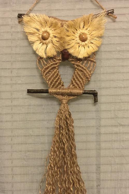 OWL #71 Macrame Wall Hanging, natural jute, sisal, small macrame