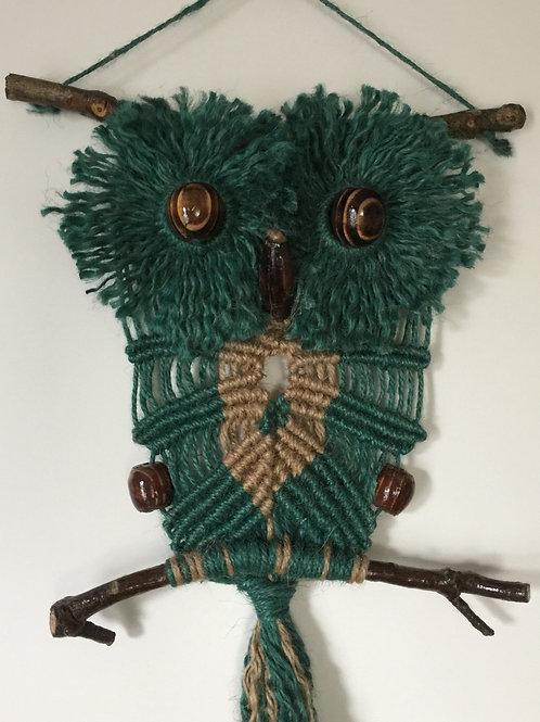 OWL #144 Macrame Wall Hanging, natural, colored jute, macrame owl
