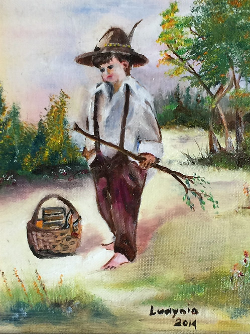 BOY WITH A BASKET original oil painting