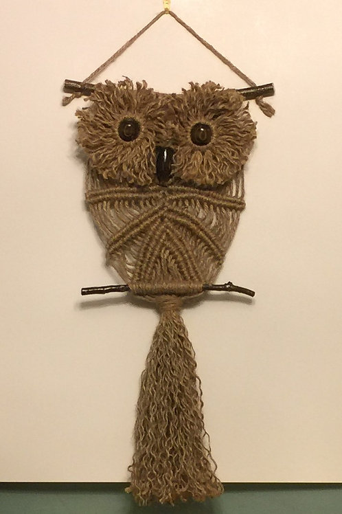 OWL #157 Macrame Wall Hanging, natural jute, macrame owl