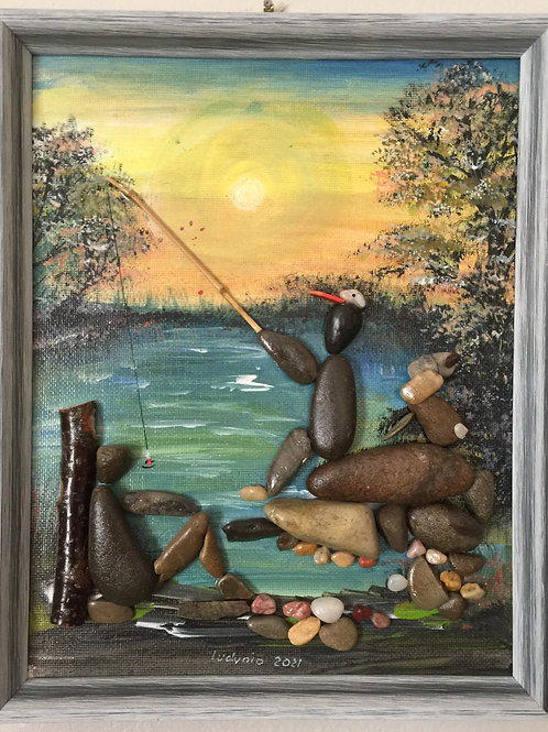 FISHERS Pebble Art (29) collage, 3D picture,
