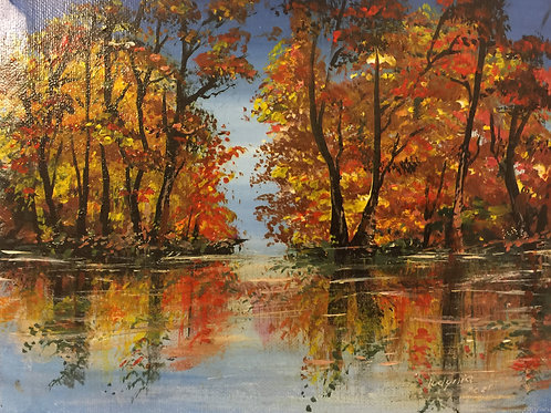 """FALL COLORS original acrylic painting on stretched canvas 8""""x10"""""""