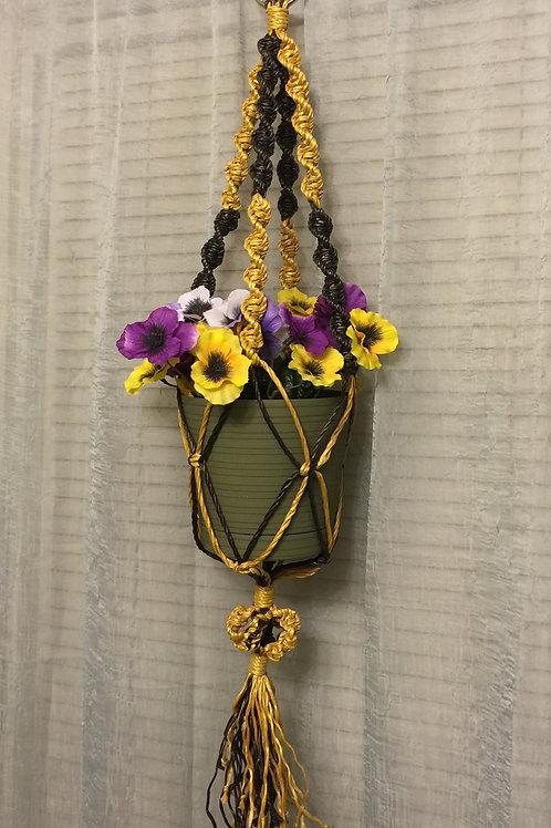 MACRAME PLANT HANGER 4 arms single, yellow & black