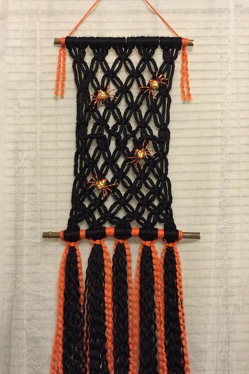 SPIDER WEB Macrame Wall Hanging 43, Halloween Macrame, acrylic