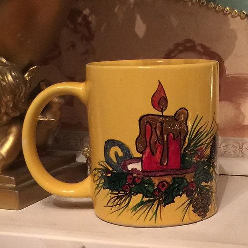 CHRISTMAS CANDLE 3 Hand-painted Coffee Mug