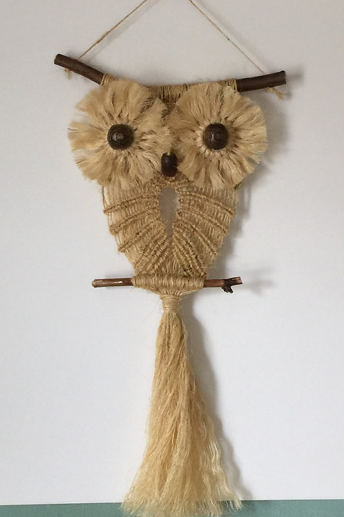 OWL #93 Macrame Wall Hanging, natural sisal, small macrame