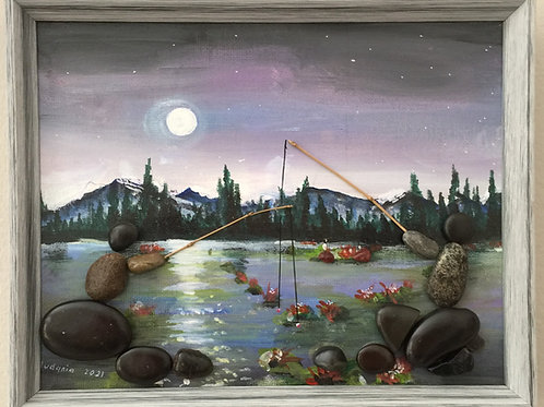 NIGHT FISHING Pebble Art (19) collage, 3D picture,