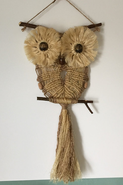 OWL #96 Macrame Wall Hanging, natural jute, sisal