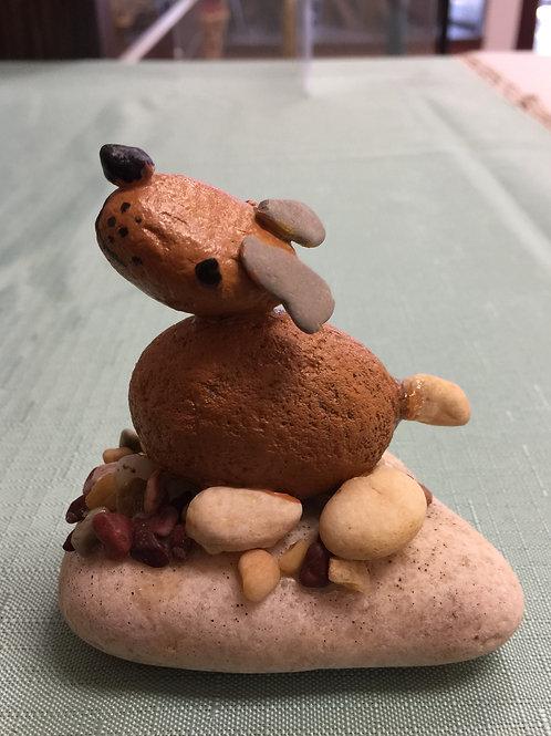 DOG ON THE STONE (2) Stone Figurine