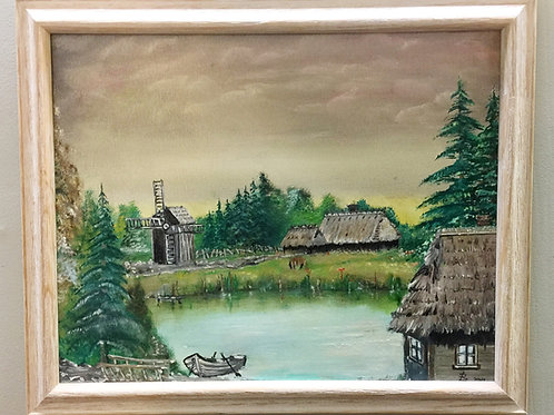 """COUNTRYSIDE oil painting on canvas, 16""""x20"""", framed"""