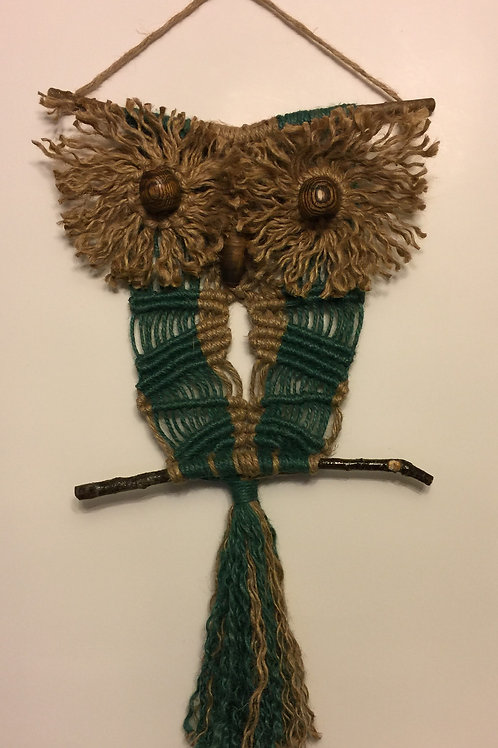 OWL #155 Macrame Wall Hanging, natural, colored jute, macrame owl
