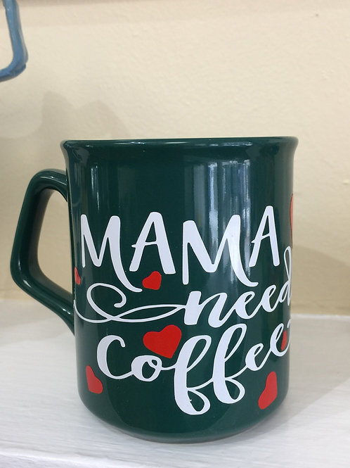 MAMA NEEDS COFFEE Decorated Coffee Mug, Gift for Mom
