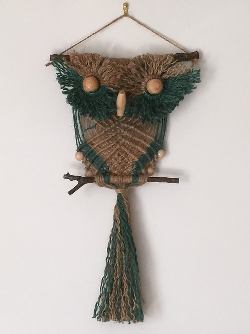 OWL #167 Macrame Wall Hanging, natural, colored jute, macrame owl