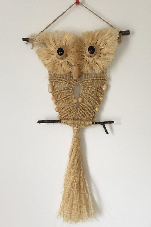 OWL #120 Macrame Wall Hanging, natural sisal, small macrame