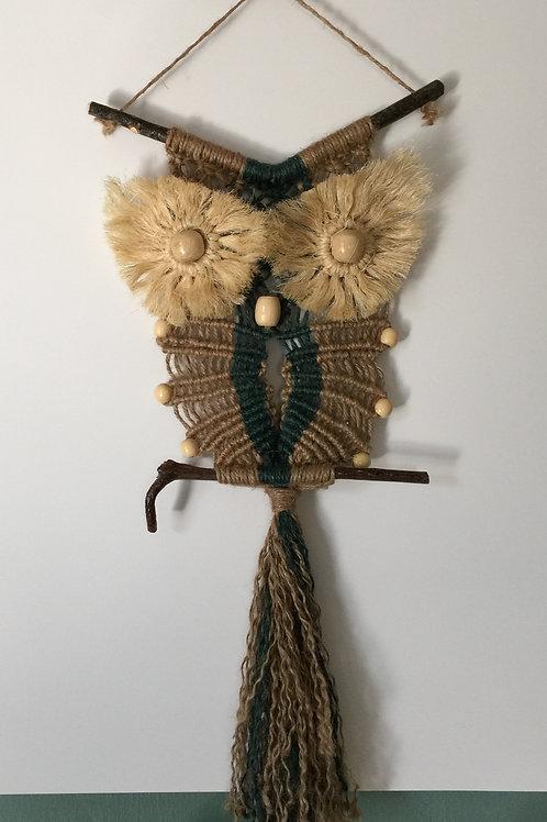 OWL #86 Macrame Wall Hanging, natural jute, sisal