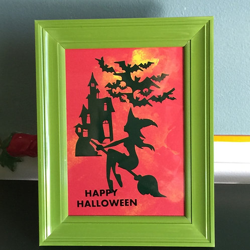 HAPPY HALLOWEEN vinyl images on the paper, covered with glass, framed