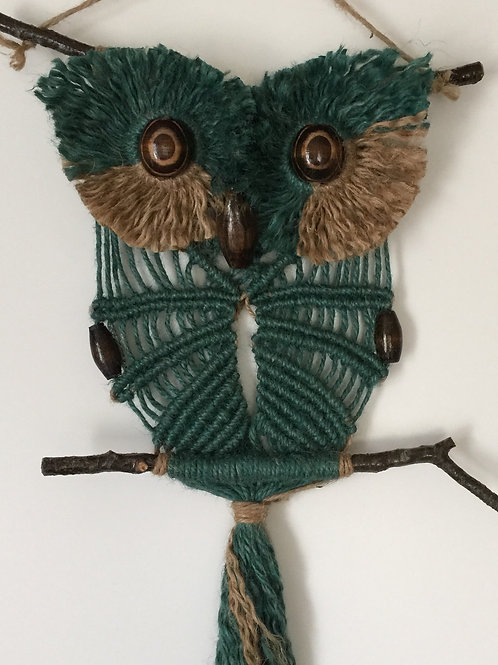 OWL #121 Macrame Wall Hanging, natural, colored jute, macrame owl