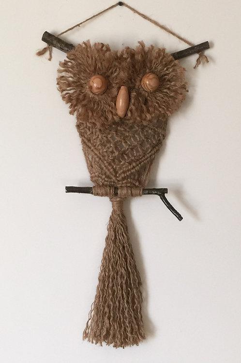 OWL #193 Macrame Wall Hanging, natural jute, macrame owl