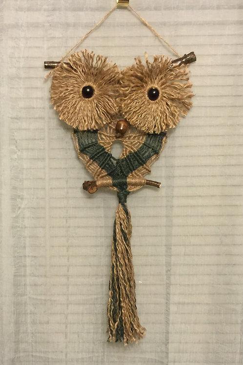 OWL 31 Macrame Wall Hanging, colored, natural jute
