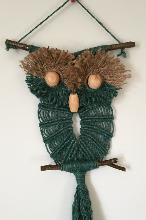OWL #107 Macrame Wall Hanging, natural and colored jute