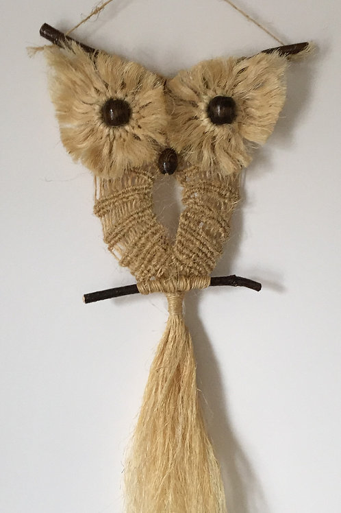 OWL #95 Macrame Wall Hanging, natural sisal, small macrame
