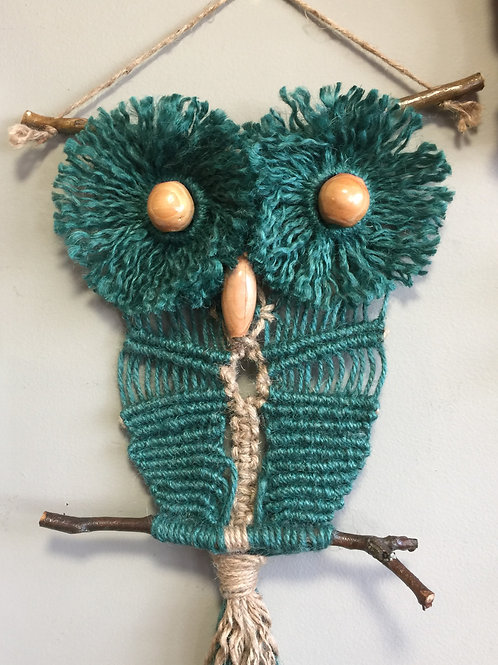 OWL #186 Macrame Wall Hanging, natural, colored jute, macrame owl
